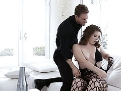 Wearing Fishnet Stuff Whore With Big Booty Ella Nova Loves Topping Spear