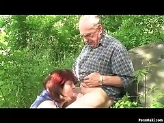 Granny And Grandfather Fuck Outdoor