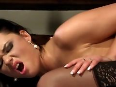 Elegant Black-haired In Black Stockings And Her Sultry Cowgirl Rail