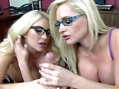 Big Racked Blondes With Glasses Team Up To Share Stud's