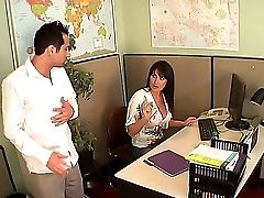 The Appetizing Dark Haired Mummy Pornographic Star Eva Karera Makes A Good Dt In A Office