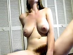 Hairy Lady Masturbates Cucumber