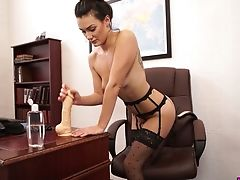 Wondrous Sexy Office Biotch Laura Stripteases And Plays With A Faux-cock