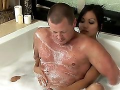 Sexy Bath With Big Dude With A Phat Dick And Sexy Stunner Lana Violet On Camera