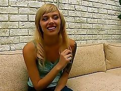The Sympathetic Blonde Honey Emma Mae With A Petite Tits Displays Her Figure In Front Of Camera
