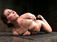 Tethered Crimson Haired Bombshell Savannah Fox Gets Her Mouth And Kitty Toyed Rough