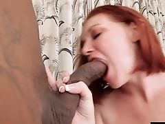 Petite Sandy-haired Honey Is In Love With A Monster Black Pole