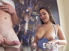 Naked Man Strokes A Dick While Braless Evie Olson Taunts. Hd