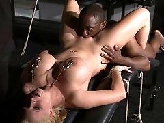 Interracial Predominance Of German Melanie Moon And Slit Slurped Blondes Tit Torment By Rough Black Master