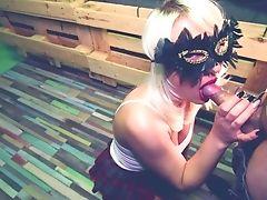 - 4k - Hot Wifey Teenage In A Mask -bj & Fuck = Jizz Flow On Rump -adella Jay