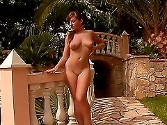 Lusty And Pretty Playful Dark-haired Cate Harrington Knows How To Make Her Day Interesting By Playing With Her Clean-shaved Pink On The Terrace And Ma