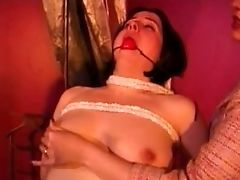 Buxomy Raven-haired Harlot Loves Letting A Sandy-haired Slag Slap Her Hard