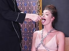 Tattooed Bitch With Tit Torture Leah Has To Suck Strong Man-meat