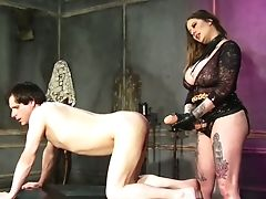 Using Gigantic Belt Cock Top Chesty Whore Maitresse Madeline Marlowe Fucks Dude