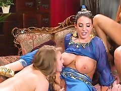 Smashing Lezzie Trio With Angela Milky, Lena Paul And Sofi Ryan