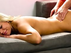 Big Boobed Platinum-blonde Beauty Olivia Austin  Makes Love With Her Perverted Massagist On Sofa