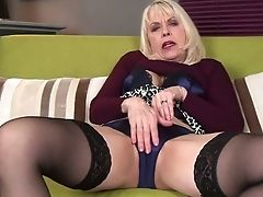 Old Blonde With Faux Tits Margaret Holt Gets Naked And Masturbates Cunt