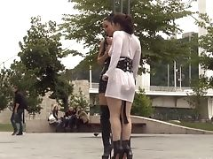Non-traditional Mistress In Corset And High Knee Boots Fixation Liza Likes To Subjugate In Public