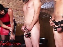 Four Nuts Under Pressure, She Ties Up Four Worthless Spunk-pumps
