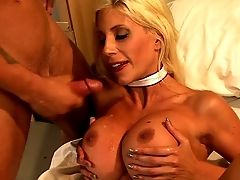 Blonde Haired Big-chested Cougar Nurse Puma Swede Treats A Lucky