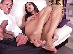 Too Super-naughty Whorey Chick Entices Working Hard Man To Give Him A Dt