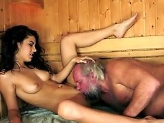 Old Guy's Sauna Escapade With A Hot Teenage
