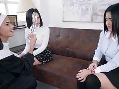 Sinful Nun Apolonia Lapiedra Fucks Two Pretty Gals Gina And Aysha