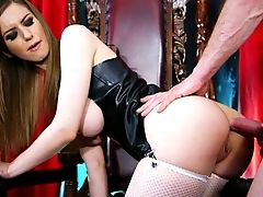 Hot Tempered Master Fucks Provocative Chick In Spandex On The Throne
