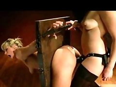 Dom Lezzy Buttfuck Fucks Restrained Chick With Strapo