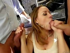 Chanel Preston In Slightly There Miniskirt And G-string Gives Dual