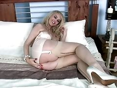 Blonde Katie Kay In Nylons Spreads Her Gams Nice And